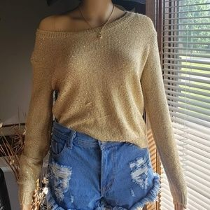 Long sleeve gold top